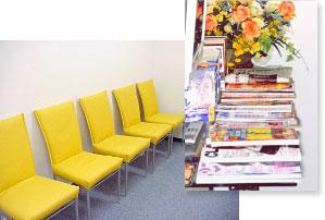 待合室写真・DVDテレビ・雑誌ラック写真